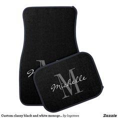 Custom classy black and white monogram car mat set - Car Floor Mats and Automobile Accessories