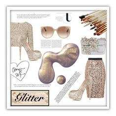 """""""Golden Glitter Goddess"""" by selena-gomezlover ❤ liked on Polyvore featuring French Connection, Alice + Olivia, Giuseppe Zanotti, Dsquared2, Tom Ford, MAC Cosmetics and Anja"""