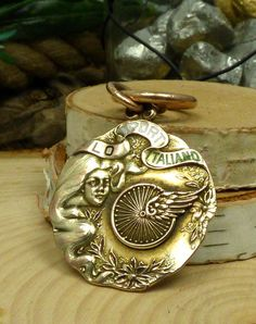 Antique 10k Gold Watch Fob; Lo Sport Italiano 1st Prize; 20 mile Race; 1910!! #HPopperSon