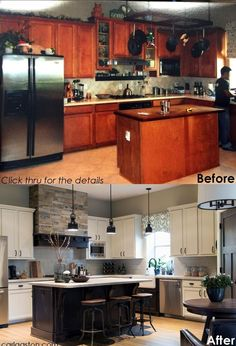 Before and After kitchen remodel – click through for more photos and details! – … Before and After kitchen remodel – click through for more photos and details! – Designer, Carla Aston / Photographer – Tori Aston Pin: 876 x 1286 Home Renovation, Home Remodeling, Kitchen Remodeling, Remodeling Companies, Kitchen Redo, Kitchen Cabinets, Kitchen Ideas, Kitchen Makeovers, Black Cabinets