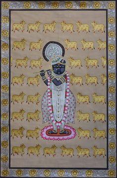Music Painting, Cow Painting, Online Painting, Silk Painting, Paintings Online, Pichwai Paintings, Paintings For Sale, Krishna Art, Shree Krishna