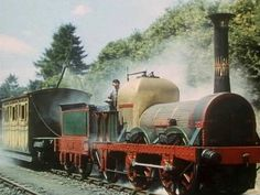"""The """"Titfield Thunderbolt"""" is actually """"Lion"""". She was built in 1838 for the Liverpool and Manchester Railway. Electric Locomotive, Steam Locomotive, Old Steam Train, Rail Transport, Abandoned Train, Steam Railway, Bonde, Train Times, Train Art"""