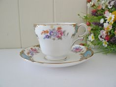 Maddy Flynn - Shelley vintage 1960's Blue Empress coffee cup and saucer. https://www.facebook.com/sMonicka/posts/429920843846149