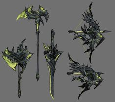Robot Concept Art, Armor Concept, Weapon Concept Art, Fantasy Armor, Fantasy Weapons, Dark Fantasy, Anime Ninja, Sword Design, Anime Weapons