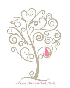 Baby Shower Fingerprint Tree Template   New Baby Fingerprint Tree Personalized SHOWER by ...   Baby Shower