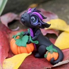 Black and Purple Baby Dragon by BittyBiteyOnes on Etsy