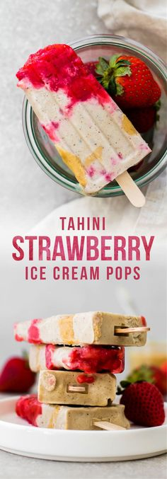 Creamy tahini ice cream swirled with chunks of sweet summer strawberries and flecked with real vanilla bean--these healthy pops are a chilly vegan treat! via Feasting on Fruit Vegan Treats, Healthy Desserts, Delicious Desserts, Dessert Recipes, Vegan Food, Frozen Desserts, Frozen Treats, Ice Cream Pops, Ice Pops