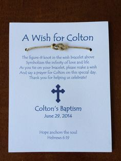 Nautical baptism favors, wish bracelet, etsy