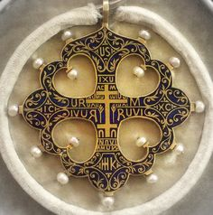Carlo Giuliano Enammeled Gold with Pearl Pendant in the Shape of a Greek Orthodox Cross, last quarter 19th c