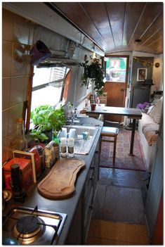 Ford camper van interior tiny house 50 The Effective Pictures We Offer You About hippie home decor A Canal Boat Interior, Yacht Interior, Narrowboat Interiors, House Boat Interiors, Narrowboat Kitchen, Canal Barge, Houseboat Living, Houseboat Ideas, Pontoon Houseboat