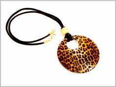 Leopard - Pendentif en Verre de Murano topaze et ambre
