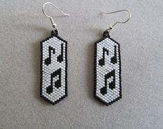 Beaded Musical Notes Earrings
