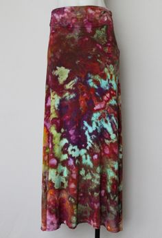 Tie Dye Maxi skirt Ice Dyed - Size Small - Rainbow Connection crinkle by ASPOONFULOFCOLORS on Etsy