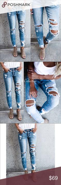 5b8002edd1 Distressed jeans denim destroyed ripped skinny Distressed denim jeans  skinny skinnies. Medium Wash. Mid