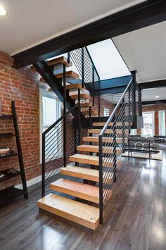 Front door opens into stairs decorating ideas for and hallways modern staircase design entryway imperial interior Modern Stair Railing, Stair Railing Design, Stair Handrail, Stair Decor, Modern Stairs, Railings, Interior Staircase, Staircase Remodel, Stairs Architecture
