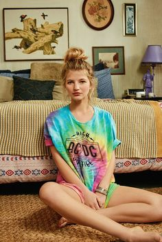 Urban Outfitters Tie-Dye ACDC Tee 049 Tie-dye ACDC tee that'll have you rockin' out. In a classic relaxed-fit construction. Topped with a crew-neck + short sleeves. Finished with allover tie-dye detailing + ACDC graphics at the chest. Ac Dc, Surfer Girl Outfits, Friend Logo, Rock Shirts, Tees For Women, Urban Outfitters, Vintage Outfits, Tie Dye, Crew Neck