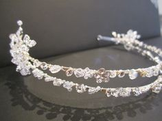 Bridal Headband...with wire wrapped crystal and rhinestone flower, handmade wedding hair jewelry, tiara, crown, head piece