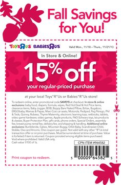 Pinned November 18th: 15% off at Babies #R Us & Toys #R Us, or online via promo code SAVE15 #coupon via The Coupons App