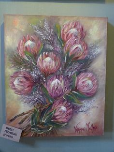 """ Vivienne Mconie a renound South African artist is exhibiting Protea paintings"" Protea Art, Protea Flower, Purple Flowers Wallpaper, Chalk Pastel Art, Acrylic Painting Inspiration, Cow Art, Diy Canvas Art, African Art, Art Oil"