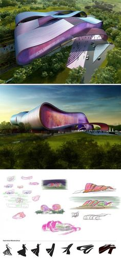 Bollywood Museum is part of architecture Nature Inspiration Forests - The design for the Bollywood Museum harnesses the power of this especially dynamic form of cinema by responding to its layered expressions of emotions Thi Office Building Architecture, Museum Architecture, Green Architecture, Futuristic Architecture, Amazing Architecture, Building Design, Architecture Design, Zaha Hadid Architecture, Architecture Concept Diagram