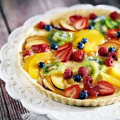 Summer Fruit Tart Recipe + Healthier + Top this low-fat custard with a variety of seasonal fruits. + Summer + BBQ + Parties + 4th of July Dessert
