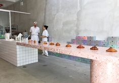 The best bakery in New York City. Bakery Design, Cafe Design, Restaurant Design, Store Design, Terrazzo, Bread Shop, Small Restaurants, Cafe Bistro, Coffee Shop Design