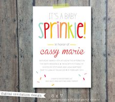 CIJ SALE baby shower invitation  Sprinkle baby by PrintSmitten, $15.00