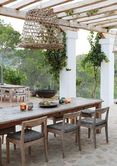 The summer home of a Dutch couple, set on a forested hillside on the Mediterranean island of Ibiza, epitomises easy-going luxury and laid-back style. Elle Decor, Patio, Backyard, Ibiza Style Interior, Pergola, Porches, Island Villa, African Interior, Haus Am See