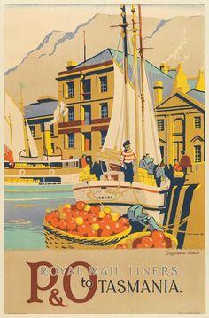 Australia - Tasmania - P&O Vintage Luggage, Vintage Travel Posters, Carnival Corporation, Van Diemen's Land, Posters Australia, Australian Vintage, Bus Travel, Australia Travel, Retro