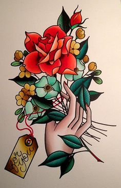 bouquet tattoo black only - Google Search