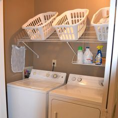 20 DIY Laundry Room Projects - Tilted Shelf