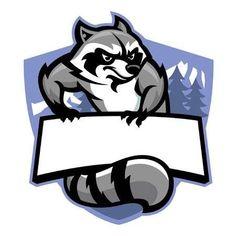 mascot of racoon with blank banner for text Illustration , Team Logo Design, Badge Design, Logo D'art, Logo Free, Logo Minimalista, Blank Banner, Esports Logo, Photo Logo, Game Logo