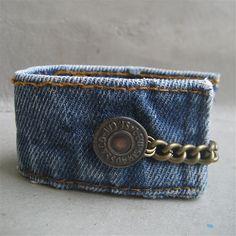 Denim Cuff Bracelet - Upcycled Levi Bracelet - Levis - Bracelet - Piece Lust. $25.00, via Etsy.