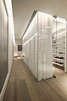 Glass dressing room.