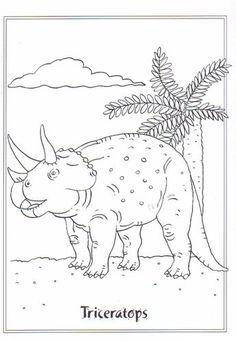 Ausmalbild Dinosaurier 2 - Triceratops