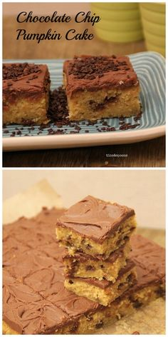 Chocolate Chip Pumkin Cake with a Fudge Milk Chocolate topping. Recipe on the blog.
