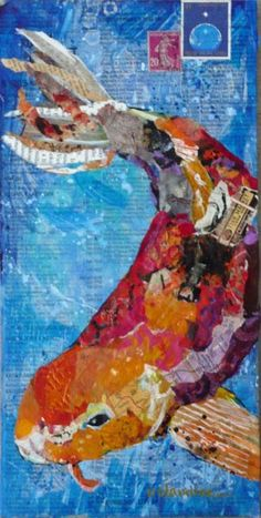 Nancy Standlee Art Blog: Koi Collage 2 by Texas Daily Painter Nancy Standlee
