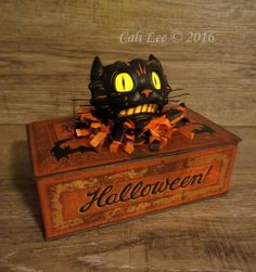 'Black Cat' candy tin! The hand made cat lantern was inspired by old Beistle cats