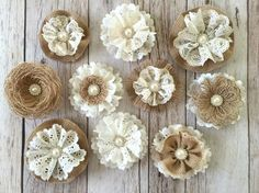 10 handmade burlap and lace rustic flowers by PinKyJubb on Etsy