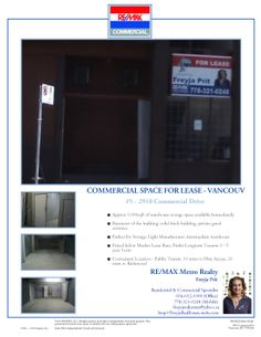 #ForLease #BSMT - 2910 Commercial Drive #Vancouver #Warehouse #storage #space