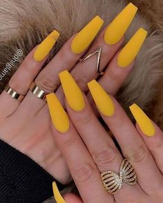 Coffin Nails Matte, Acrylic Nails Coffin Short, Best Acrylic Nails, Gel Nails, Pink Coffin, Acrylic Nails Yellow, Summer Acrylic Nails, Yellow Nails Design, Acylic Nails