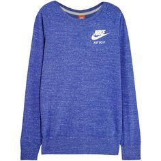 Nike Vintage cotton-blend jersey sweatshirt ($42) ❤ liked on Polyvore featuring tops, hoodies, sweatshirts, shirts, nike, sweaters, sport, blue, jersey shirts and nike sweatshirts