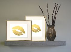 A personal favorite from my Etsy shop https://www.etsy.com/ca/listing/237139570/lipstick-kiss-in-gold-ready-to