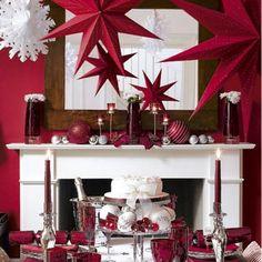 red decor christmas stars