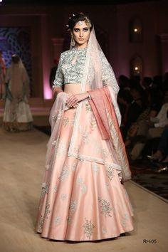 Blue Persian Print blouse and embroidered blush pink lehenga set