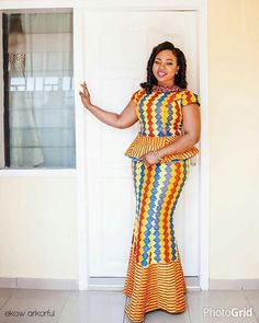 drooling over this beautiful style, colour and pattern of this kente fabric ordered from and creatively knit together by indeed princess Tilly looked fab on her engagement day Hair and Make up by Video by Decor by Photo by African Dresses For Women, African Print Dresses, African Print Fashion, Africa Fashion, African Attire, African Wear, African Fashion Dresses, African Women, African Prints