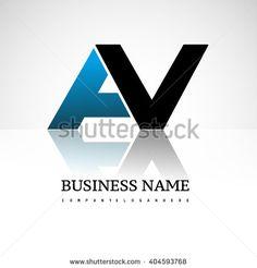 AV company linked letter logo icon blue and black - stock vector