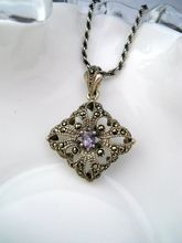 Sterling Amethyst Marcasite Pendant Necklace
