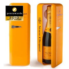 "its retro styling, its cheerful color and convenience, this packaging can differentiate itself from its competitors. Reference among the great champagnes, the ""Veuve Cliquot"" selects high quality packaging to consolidate its position."