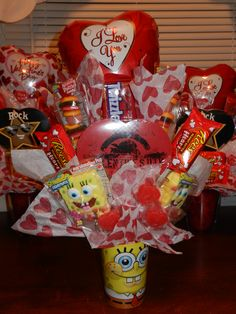 Homemade Spongebob Candy Bouquet by Jennifer Amburgy at Gem City Cakes